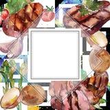 Geroosterd lapje vlees smakelijk voedsel Waterverf achtergrondillustratiereeks Het ornamentvierkant van de kadergrens vector illustratie