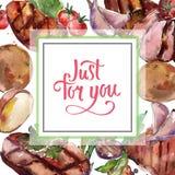 Geroosterd lapje vlees smakelijk voedsel Waterverf achtergrondillustratiereeks Het ornamentvierkant van de kadergrens stock illustratie