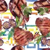 Geroosterd lapje vlees smakelijk voedsel Waterverf achtergrondillustratiereeks Naadloos patroon als achtergrond stock illustratie
