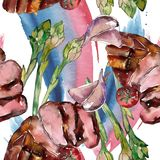 Geroosterd lapje vlees smakelijk voedsel Waterverf achtergrondillustratiereeks Naadloos patroon als achtergrond vector illustratie