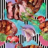 Geroosterd lapje vlees smakelijk voedsel Waterverf achtergrondillustratiereeks Naadloos patroon als achtergrond royalty-vrije illustratie