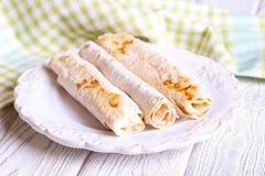 Geroosterd pitabroodje met kaas het vullen Royalty-vrije Stock Foto's