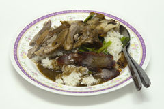 Geroosterd rood varkensvlees in saus met rijst Royalty-vrije Stock Afbeeldingen