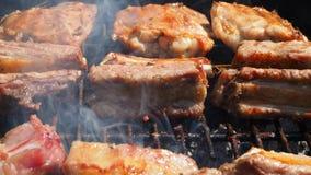 Geroosterd Sappig die vlees over de steenkolen op een barbecue wordt gekookt