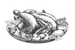 Geroosterd Turkije, kip, met ingrediëntenhand getrokken vector royalty-vrije illustratie