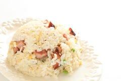 Geroosterd varkensvlees en ei gebraden rijst Stock Foto
