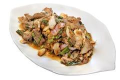 Geroosterd varkensvlees met kruidige salade Royalty-vrije Stock Afbeelding