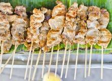 Geroosterd varkensvlees op het banaanblad. Royalty-vrije Stock Foto