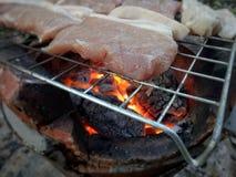 Geroosterd varkensvlees op het fornuis stock foto's