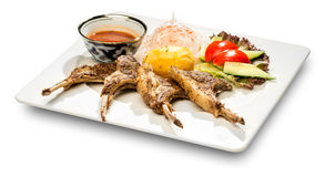 Geroosterd Varkensvleesrib en Fried Potato Stock Afbeeldingen