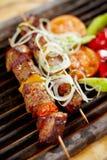 Geroosterd varkensvleesvlees, varkensvleeskebab stock afbeelding