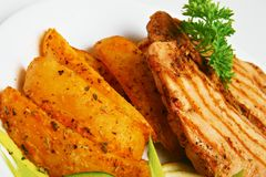 Geroosterd vlees met aardappels Royalty-vrije Stock Afbeelding