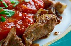 Geroosterd vlees met Spaanse pepersaus Royalty-vrije Stock Foto's