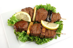 Geroosterd vlees op stokken Royalty-vrije Stock Foto's