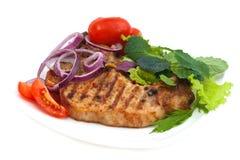 Geroosterd vleeslapje vlees met kruiden Stock Foto's