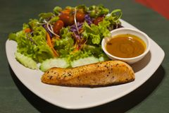 geroosterd zalmlapje vlees met salade royalty-vrije stock afbeelding