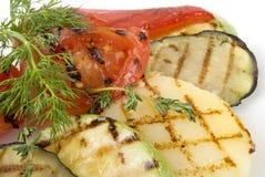 Geroosterde aardappel, tomaat, aubergine Stock Afbeeldingen