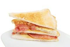 Geroosterde baconsandwich stock afbeelding