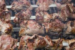 Geroosterde de barbecuevleespennen van de Kaukasus in rook Stock Afbeelding