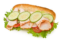 Geroosterde de borstsandwich van Turkije die op wit wordt geïsoleerde Stock Foto
