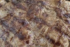 Geroosterde de close-uptextuur van het rundvleeslapje vlees Stock Afbeeldingen