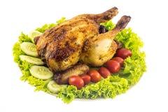 Geroosterde die kip met kruiden wordt gekruid Royalty-vrije Stock Foto
