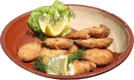 Geroosterde die kippenfilets op barbecue met salade wordt gediend Stock Fotografie