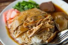 Geroosterde eend met rijst Stock Foto