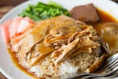 Geroosterde eend met rijst Royalty-vrije Stock Foto's