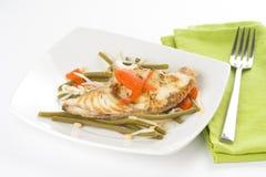 Geroosterde filet van vissen en sojabonen stock afbeeldingen