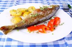 Geroosterde forel met aardappel en Spaanse pepers stock foto's