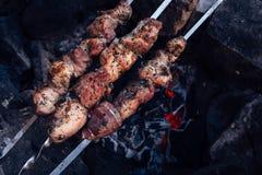 Geroosterde groente en vleesvleespennen in een kruidmarinade op een grill royalty-vrije stock afbeelding