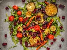 Geroosterde groenten op raketbed Royalty-vrije Stock Afbeelding