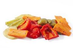 Geroosterde groenten op wit Stock Afbeeldingen