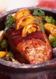 Geroosterde ham met groenten Stock Foto
