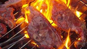 Geroosterde heerlijke lamslapjes vlees over een open brand stock video
