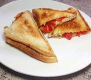 Geroosterde kaas en pepersandwiches Stock Foto