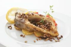 Geroosterde karperfilet op organische aardappel Stock Afbeeldingen
