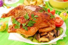 Geroosterde kip die met lever wordt gevuld Royalty-vrije Stock Afbeeldingen