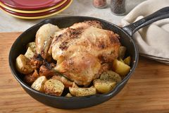 Geroosterde kip en aardappels royalty-vrije stock fotografie