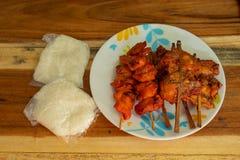 Geroosterde kip en kleverige rijst stock afbeelding