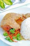 Geroosterde kip met rijst Stock Foto's