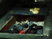 Geroosterde kip op B-B-Q Gebraden vlees op een net vage achtergrond Vlees met brandhout De ruimte van het exemplaar In openlucht  Royalty-vrije Stock Foto