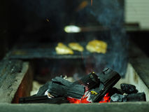 Geroosterde kip op B-B-Q Gebraden vlees op een net vage achtergrond Vlees met brandhout De ruimte van het exemplaar In openlucht  Royalty-vrije Stock Foto's