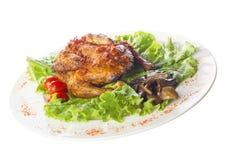 Geroosterde kip op plaat Stock Fotografie