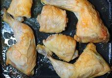 Geroosterde kippenbenen en dijen in een ovendienblad Stock Afbeeldingen