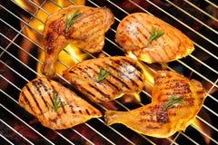 Geroosterde kippenborst en kippendij Stock Foto