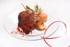 Geroosterde Kippenborst en Varkenskotelet met het lapje vlees van het rundvleesvlees en kruiden in transparante plaat royalty-vrije stock foto