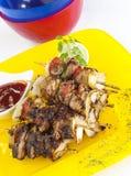 Geroosterde kippenboti kabab Stock Foto's