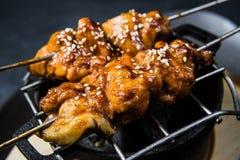 Geroosterde kippenkebab, zwarte achtergrond, hoogste mening stock foto's